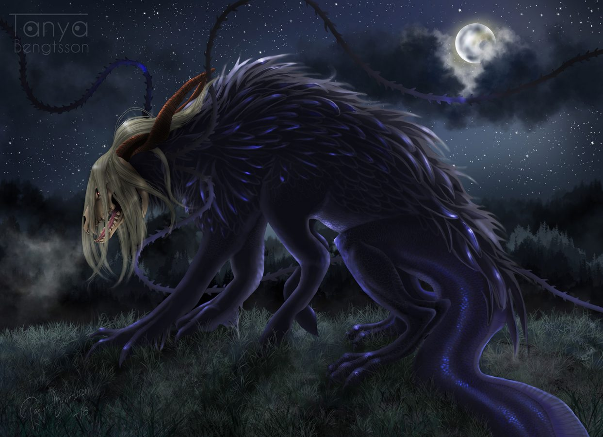 An illustration of Elias Ainsworth in beast form against a sky filled with stars and a full moon hidden behind dark night clouds.