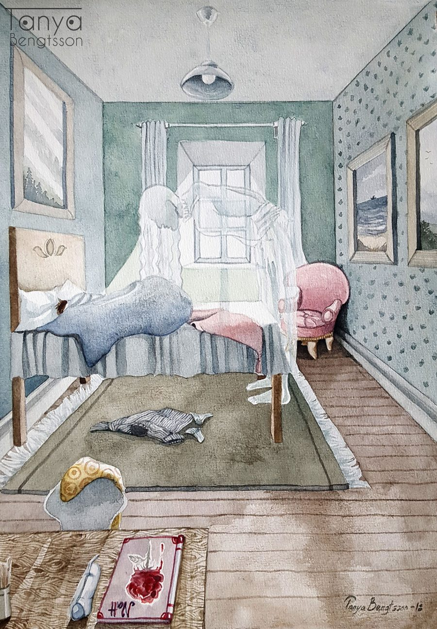An illustration of a room where a boy lies sleeping in a bed. Bent over the foot of the bed the shape of a woman can be seen, a ghostly apparition.