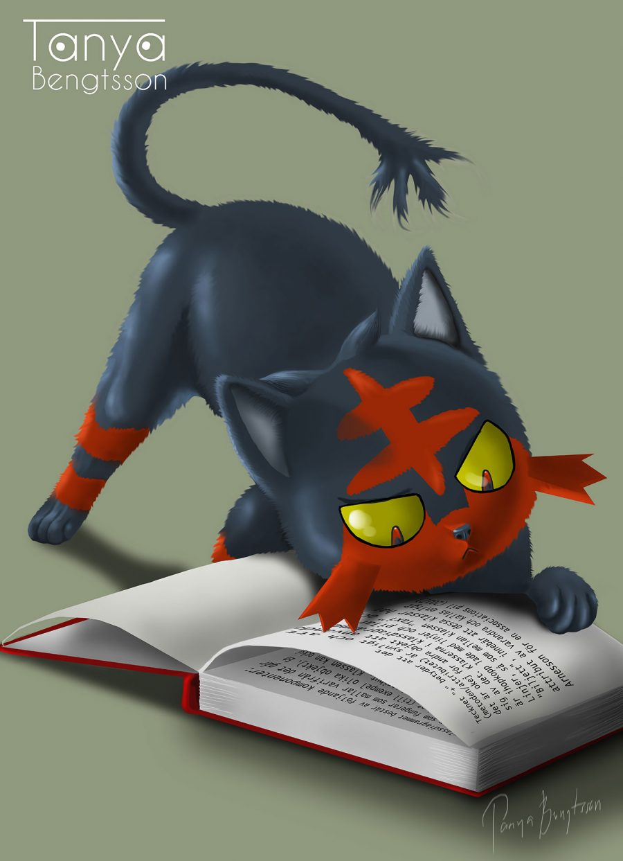An illustration of the pokemon Litten reading a book. Litten is a darkblue/black cat with red marks.