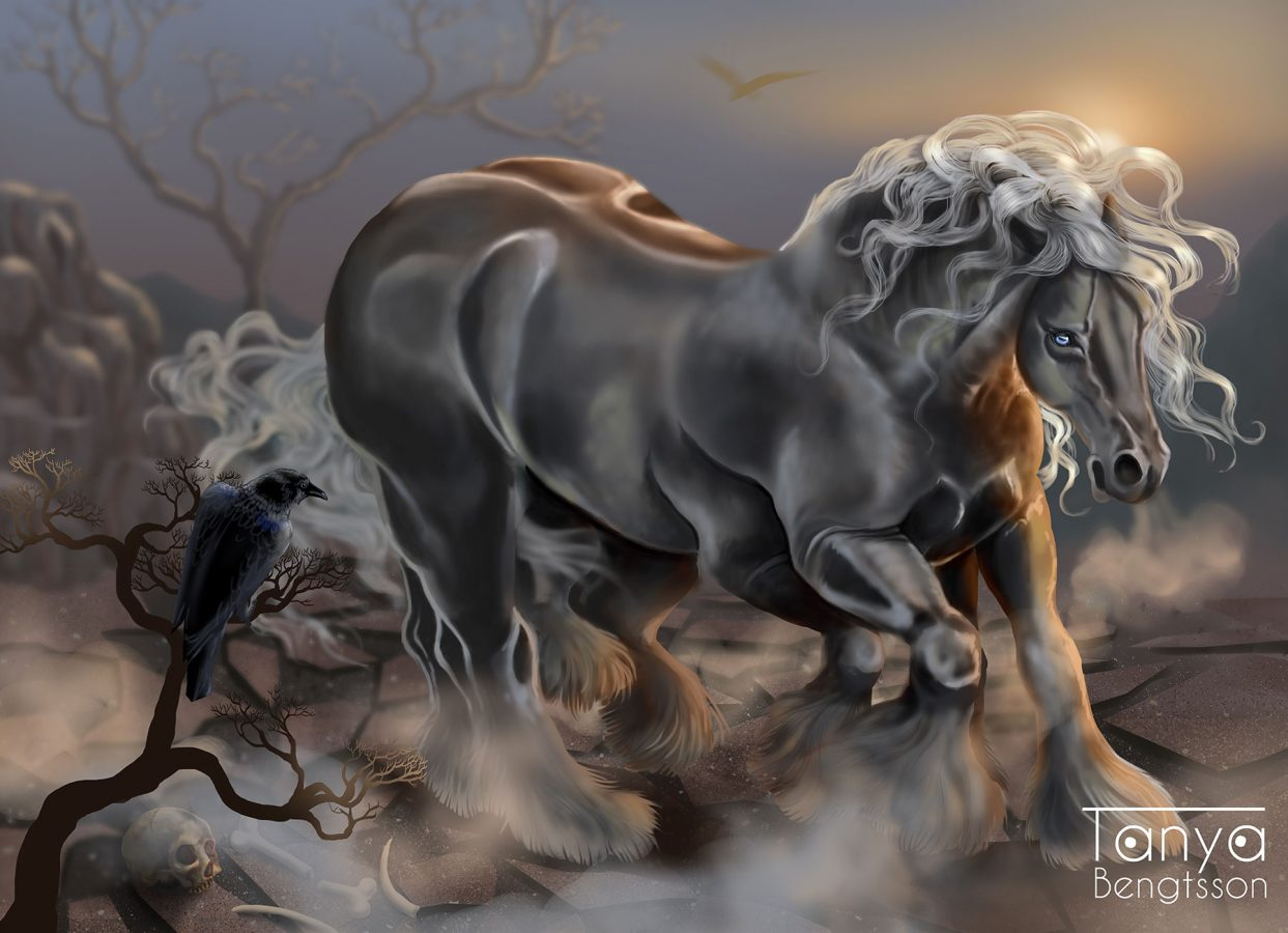 An illustration of Sleipner, Odin's eight-legged horse. A huge, grey horse with silky pearl mane. On a branch a black raven is sitting, perhaps he is Hugin or Munin.