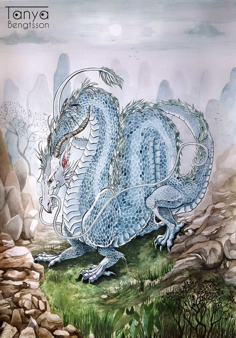 A watercolor illustration of an asian dragon. It is huge and blue. In the background blue mountains strech torwards a pale sky.