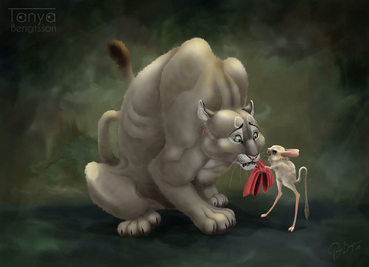 An illustration of a huge hulking cougar which is crouching with a concerned look on its face. In front or the cougar, holding its red bow in a threatening grip is a small Jerboa. The Jerboa looks like it is saying something cruel.