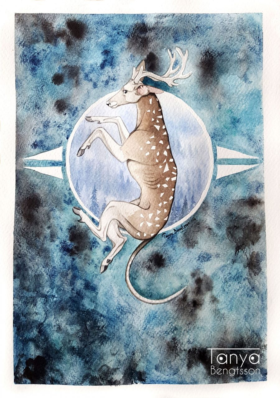 An illustration of a fantasy creature which looks like a cross between a whippet and a deer.