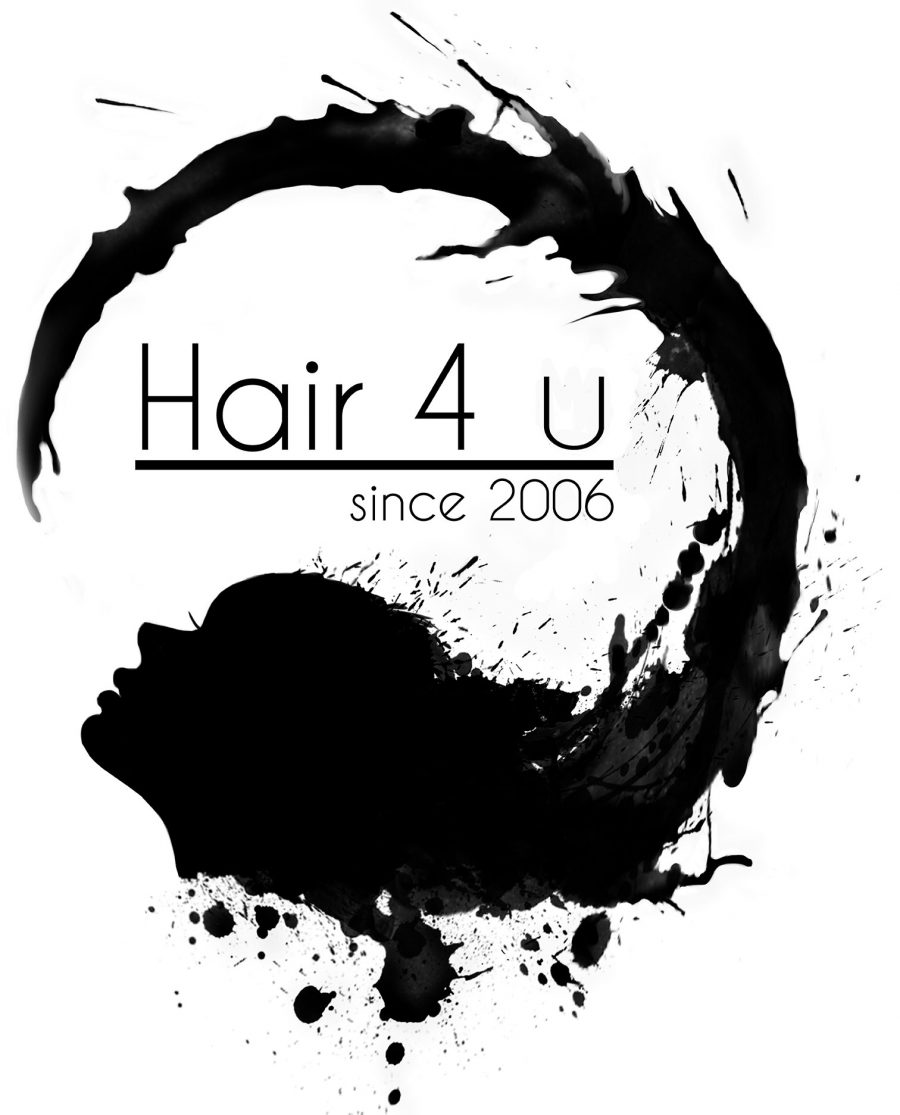 A black logotype made for Hair 4 U.