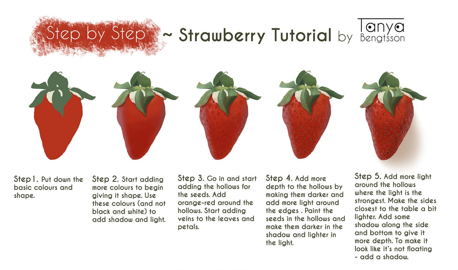 A tutorial of how to draw a realistic strawberry step by step.