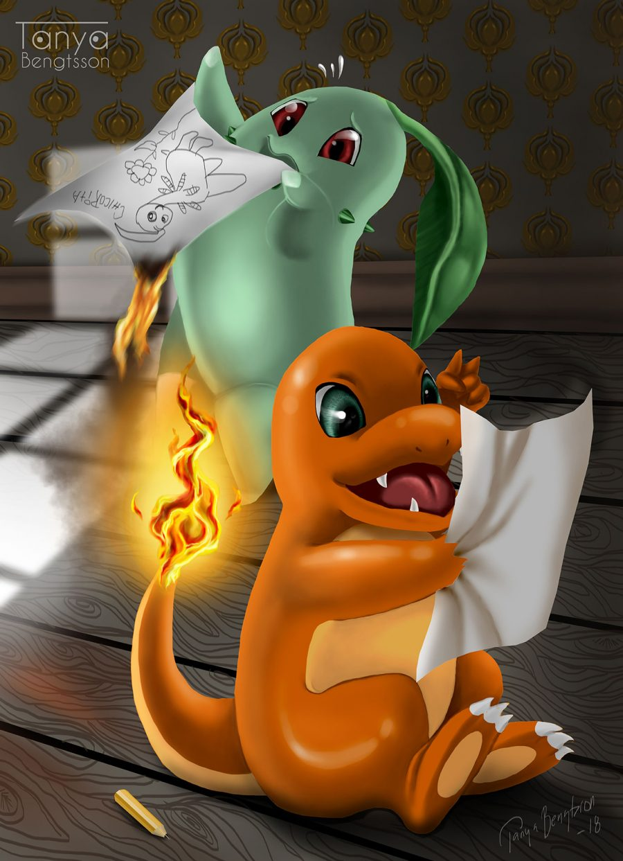 An illustration of the pokemon Charmander and Chikorita. Charmander is looking happily at a drawing while chikorita in the background desperately tries to put out a fire on a drawing she made.
