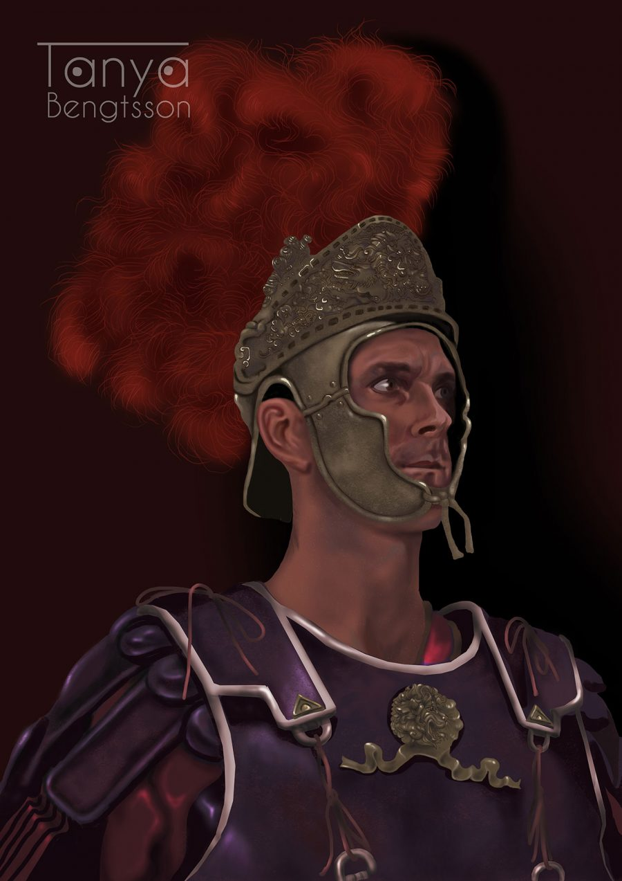 A portrait of a roman soldier. On his head is a helmet with a huge red plum of feathers.