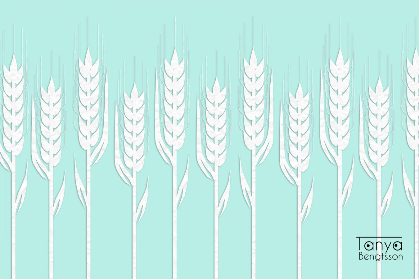 A graphic picture of wheat which looks like white paper cut outs against a turquoise background.