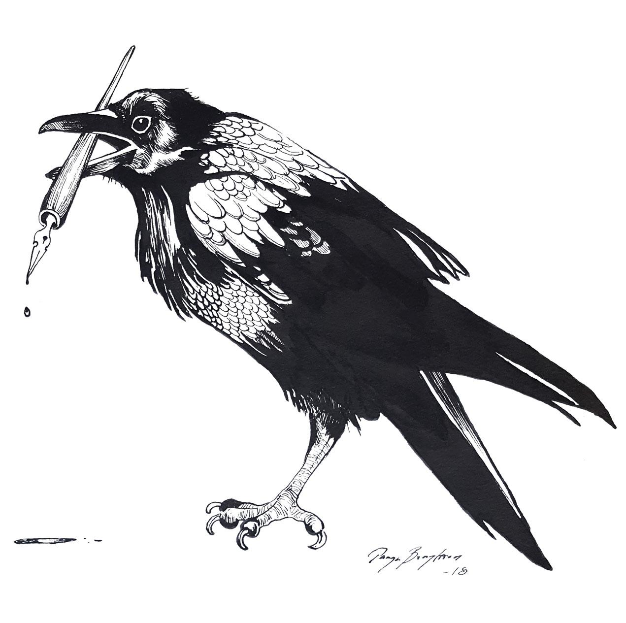 Raven drawn in ink holding a pen in its beak.