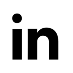 Linkedin logo in black.