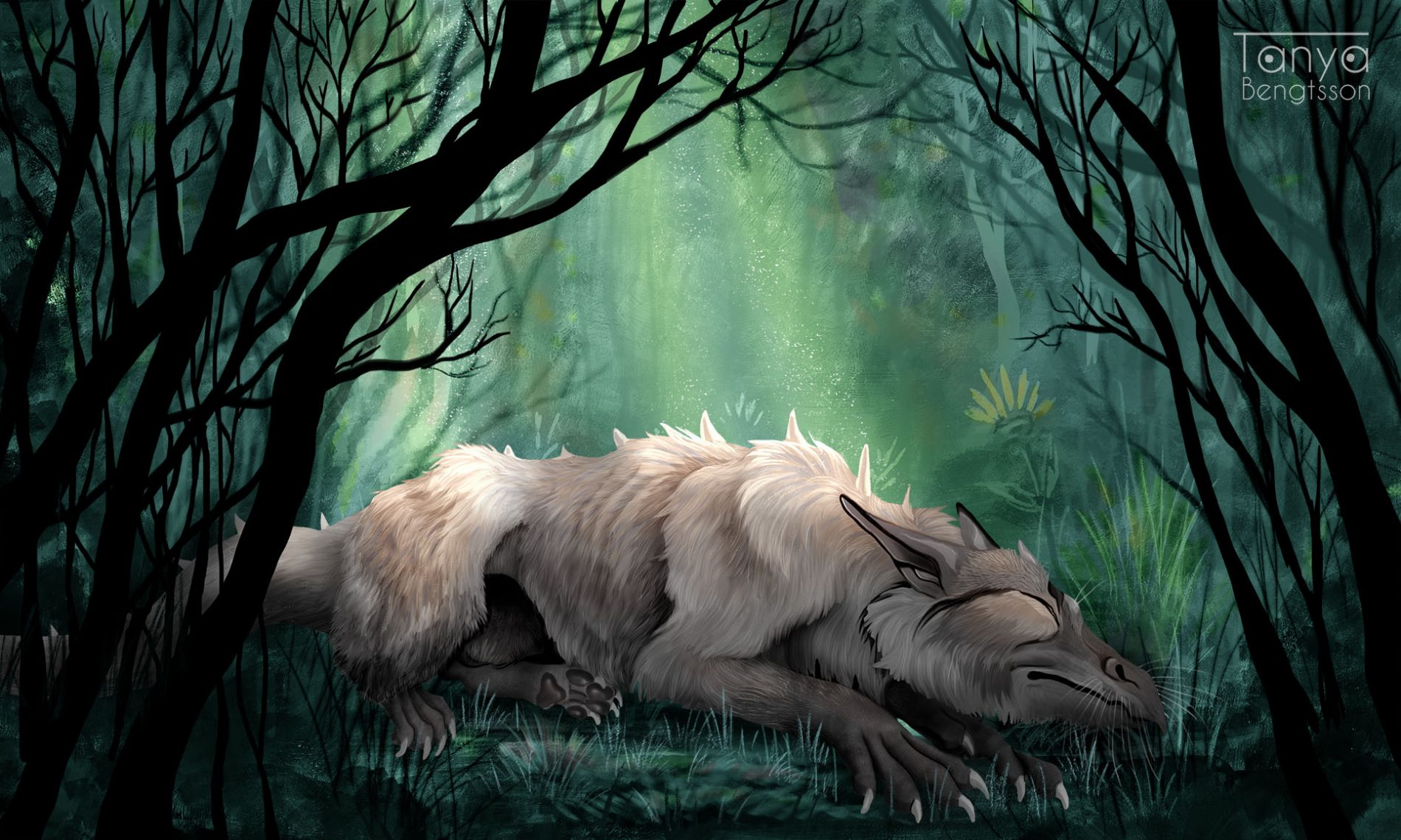 Painting made in Photoshop of a dragon sleeping in the forest.