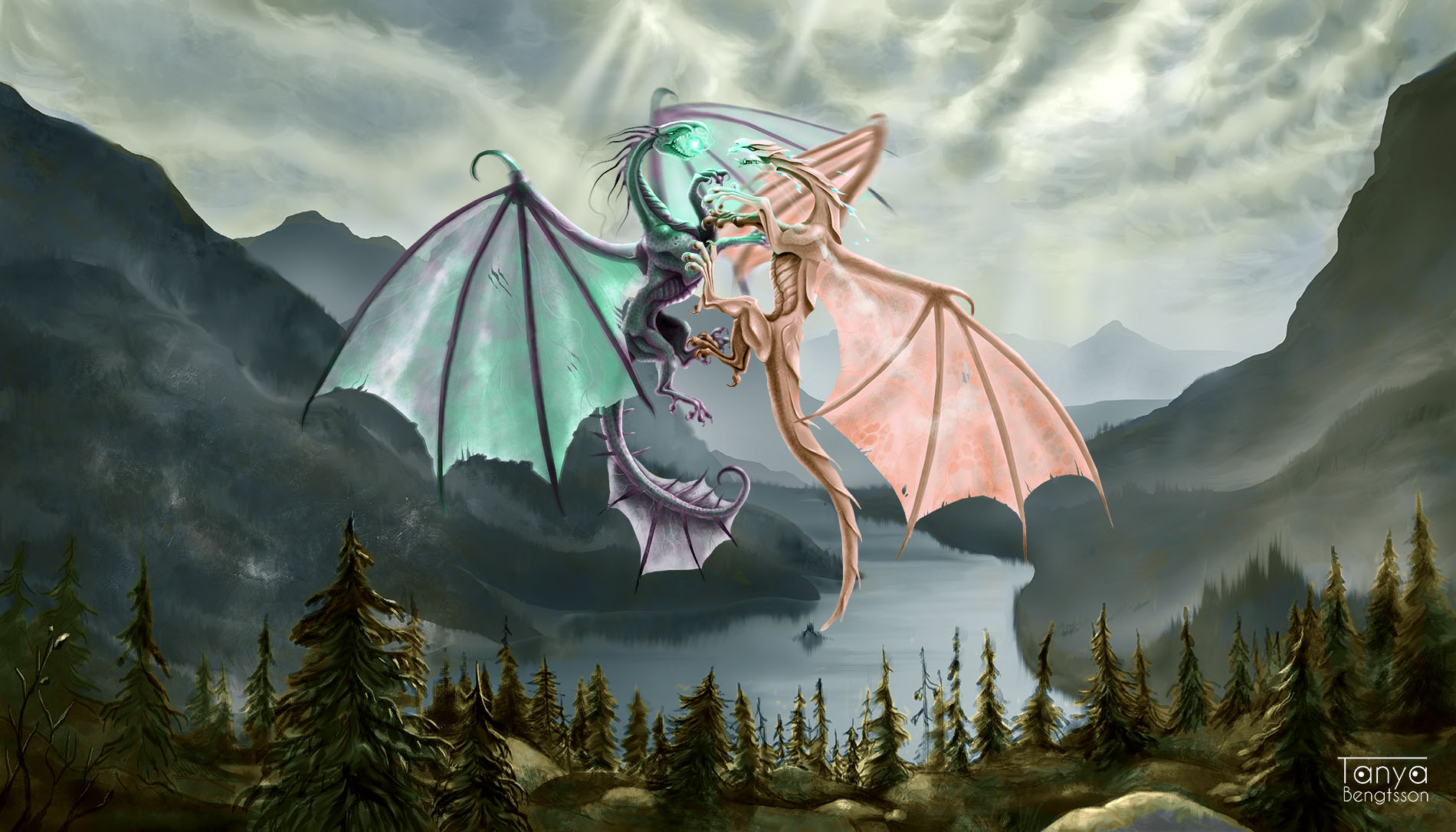 Two dragons fighting in the air above a valley